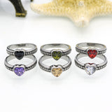 Stainless Steel Ring Heart Love Zircon Simulated Diamond Fashion Accessories Women Ring aneiss Engagement Jewelry
