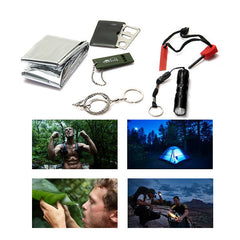 6 in 1 Survival Kit Gear Hiking Camping Set Fire Starter + Wire Saw + Card knife + Outdoor Whistle + Flashlight + Blank