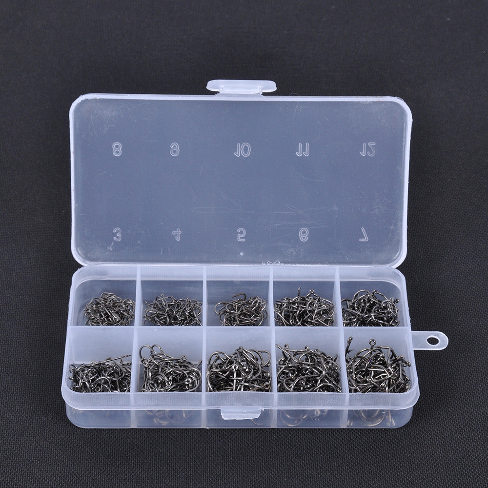 600pcs Carbon Steel Fishing Jig Hooks with Hole Fly Fishing Tackle Box 3# -12# 10 Sizes Fish Hooks