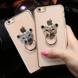 Metal Plating Bling Diamond Pattern Case For Iphone 6 6s / 6s Plus Hard PC Ring Animal Stand Back Phone Cover