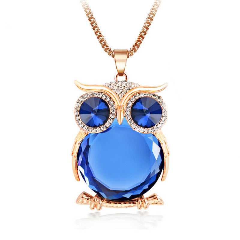 Trendy Owl Necklace Fashion Rhinestone Crystal Jewelry Statement Women Necklace Silver Chain Long Necklaces & Pendants