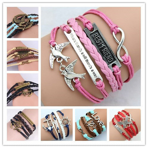 Fashion Womens Bracelet Anchor Hunger of Games Bangles Vintage pulseira Multilayer Bracelets