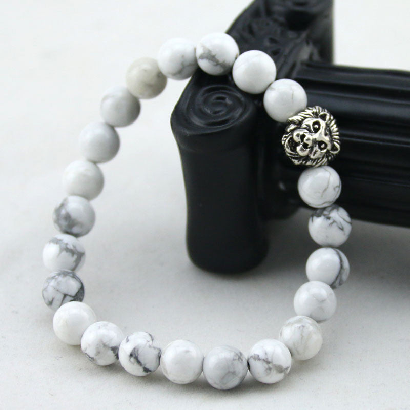 Natural White Turquoise Stone Beads Bracelet for Women Antique Silver and Gold Lion Head Bracelets High Grade Mens Jewelry