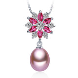 Fashion 9-10mm big size pearl necklace Elegant925 sterling silver red pendant necklace for women