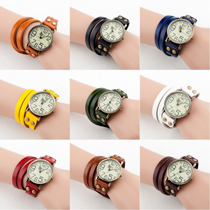 New Antique Watch Fashion Wrap Winding Vintage Watch Cow leather Bracelet Watches Ladies Women Wristwatches