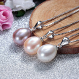 Fashion 925 sterling silver necklace pendant for women genuine freshwater pearl jewelry 8-9mm