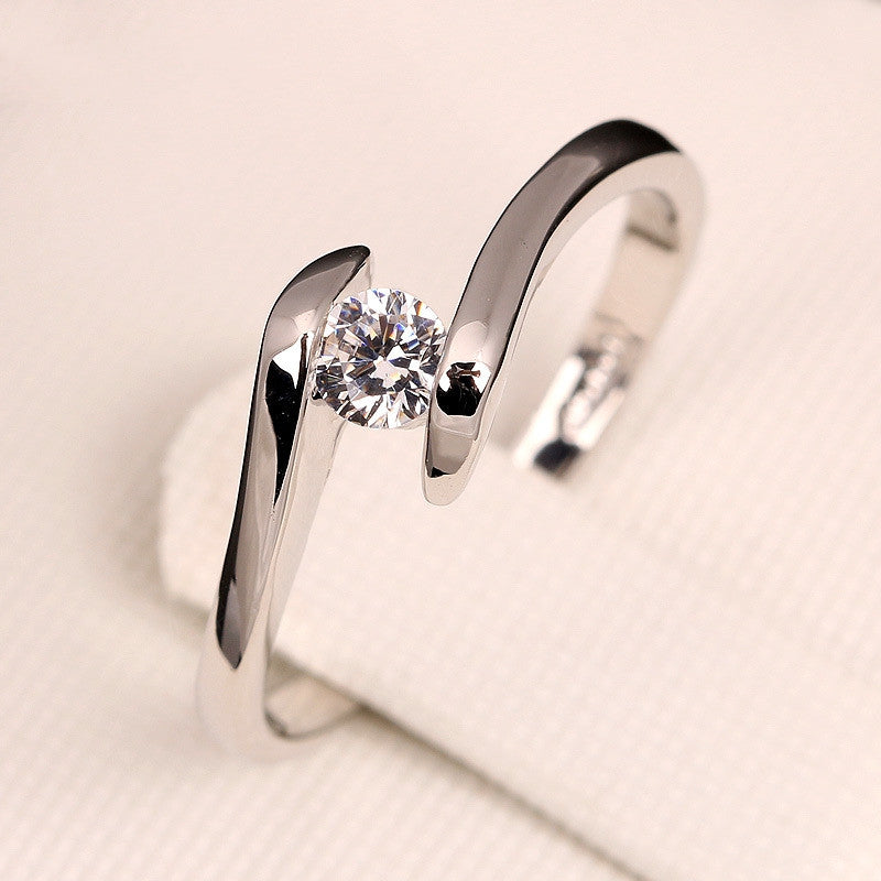 Cubic Zirconia Engagement Rings White Gold Plated Fashion Brand Ring Wedding Jewelry For Men and Women