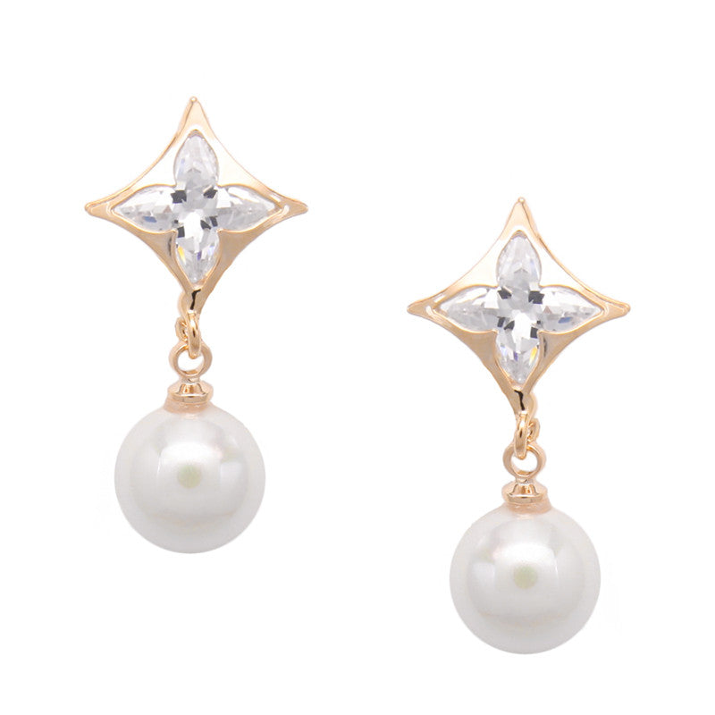 Cubic Zirconia Women Clip Earrings Gold Pearl Jewelry Clip Earrings without Piercing No Hole Ear Clips for Girls