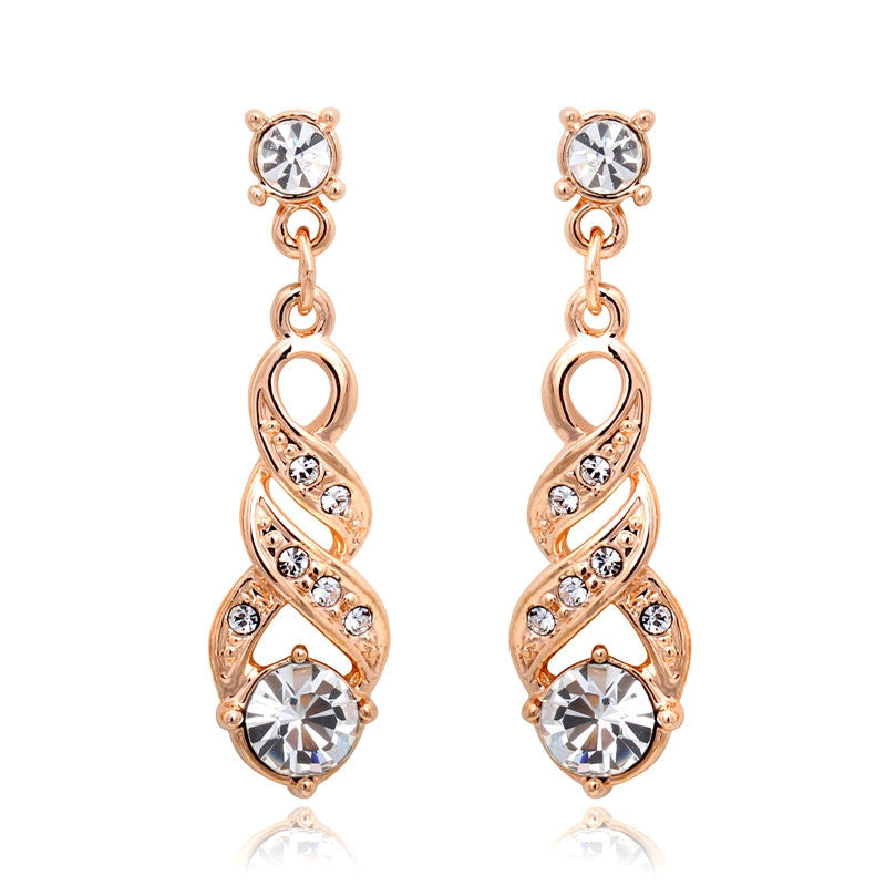 ANGELS EMBRACE Water Stud Earrings Rose Gold & White Gold Plated Jewelry