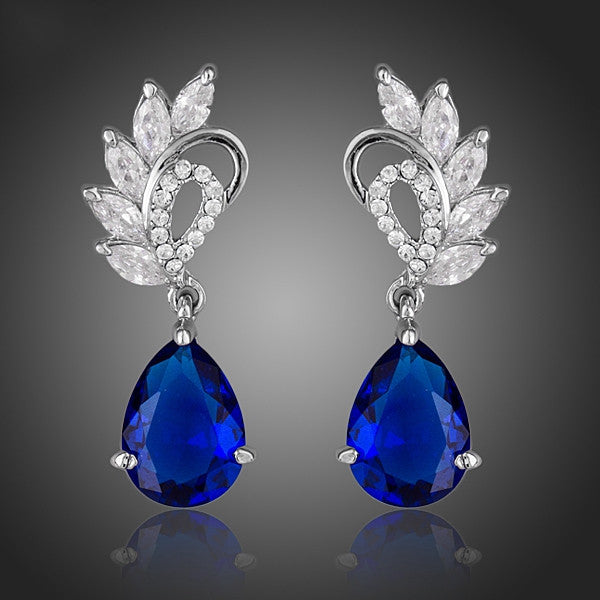 Elegant Clear and Dark Blue Color Top AAA+ Cubic Zirconia Water Drop Earrings