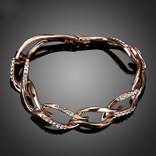 Latest Design Rose Gold Plated Clear Stellux Austrian Crystal 8 Leaves Connected Bracelet