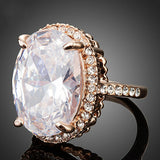 Rose Gold Plated Big Oval-cut 5ct Egg Shaped Clear Cubic Zirconia Finger Ring