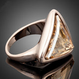 Rose Gold Plated Gold Color Triangle Stellux Austrian Crystal Ring