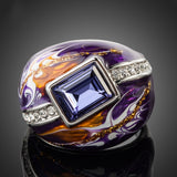 Royal Design Platinum Plated Stellux Austrian Crystal Multicolour Oil Painting Pattern Ring