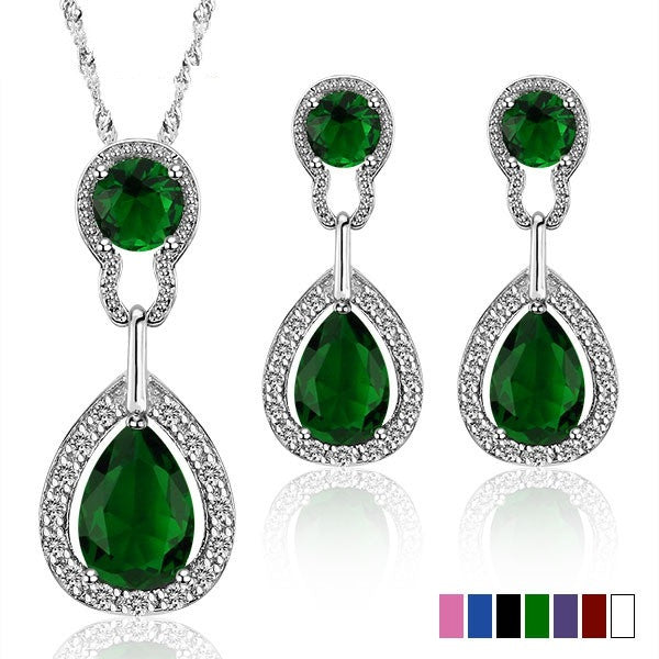Multicolor Wedding Jewelry Sets for Women Bridal Silver Gold Plated Crystal Vintage Jewelry Set