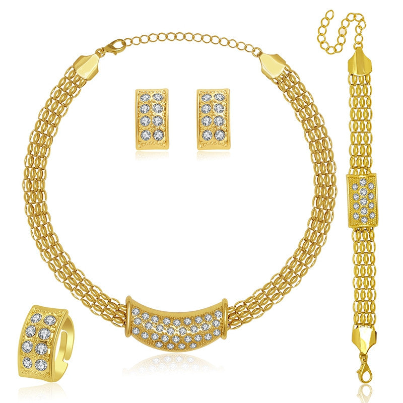 African Jewelry Sets Fine Wedding Gold Plated Crystal Necklace Set Party Women Fashion Bridal Ring Bracelet Earrings Accessories