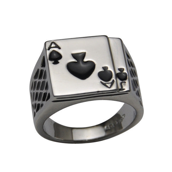 Classic Cool Men's Jewelry Chunky 18K White Gold Plated Black Enamel Spades Poker Ring Men