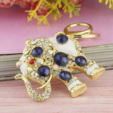 Elephant Crystal Bag Pendant Purse Bag Buckle Trendy Key chains Holder Keyrings Keychains For Car