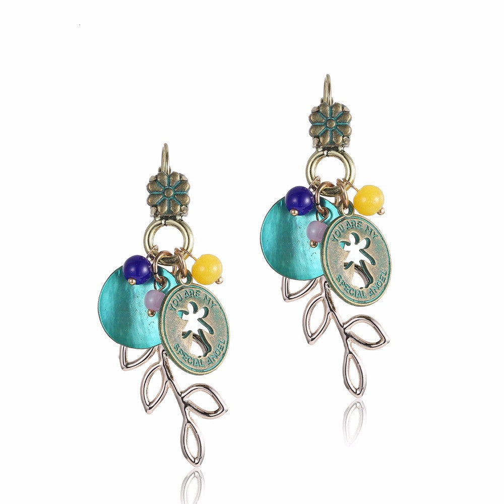 Ethnic Charms Statement Dangle Drop Earrings for Women Green Shell Antique Bronze Plated Jewelry