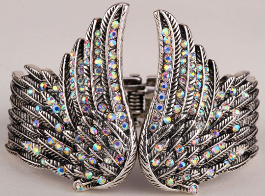 Angel wings feather bracelet women biker jewelry antique gold & silver plated W/ crystal