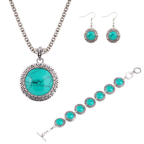 Anniversary Gift Fashion jewelry sets Vintage Silver Plated Chain Necklace Bracelets Turquoise drop earrings jewelry
