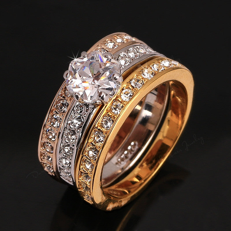 New Anti Allergy 3 Rounds CZ Diamond Paved Engagement Rings Sets Rose Gold Plated Crystal Wedding Jewelry For Women Anel