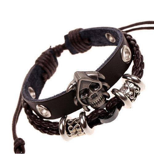 Antique Alloy Gothic Skull Studded Charm Bracelets Black Leather Braided Multilayer Cuff Bangle & Bracelet For Women Men Jewelry