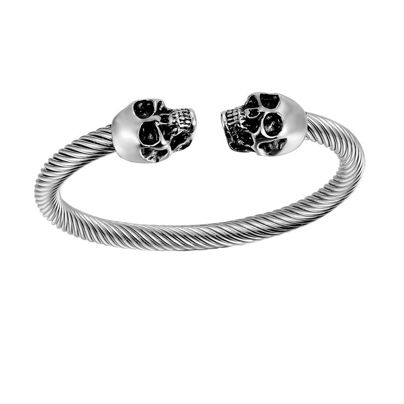 Vintage Silver Punk Skull Stainless Steel Bracelet Mens &Women Gothic Jewelry Open Bangle Fashion Jewelry Gifts