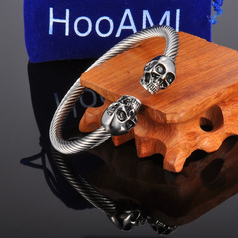 Punk Skull Stainless Steel Bracelet Mens &Women Gothic Jewelry Open Bangle Fashion Jewelry Gifts