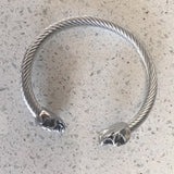 Antique Silver Punk Skull Stainless Steel Bracelet Mens &Women Gothic Jewelry Open Bangle Fashion Jewelry Gifts
