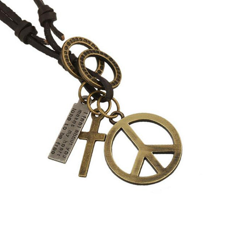 Antique Vintage Cross Dog Tag Hollow Peace Symbol Pendant Necklace Men, Long Brown Leather Necklace Cord Men Jewelry Accessories