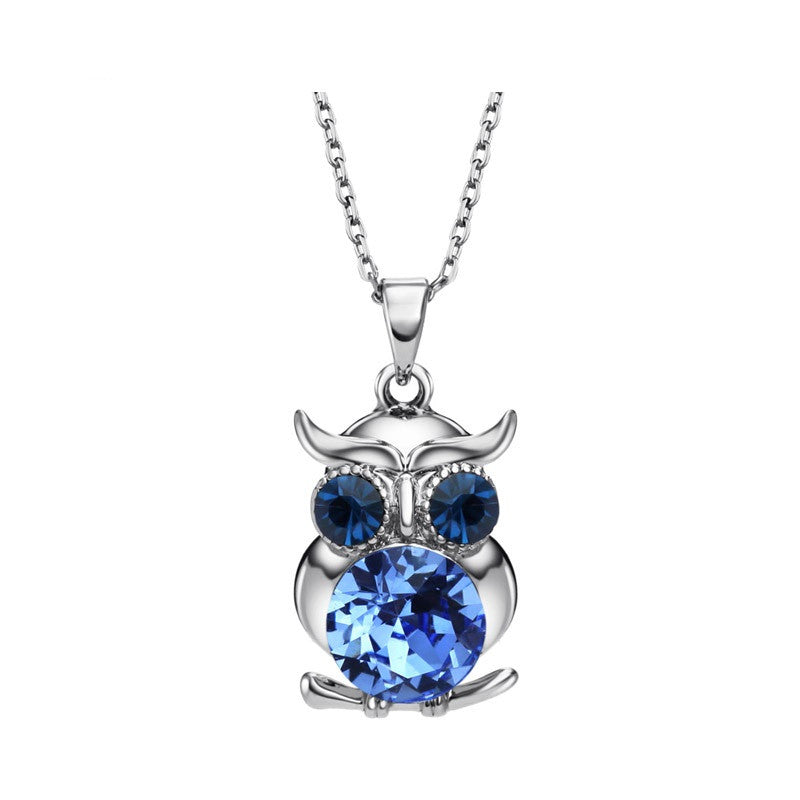 Vintage Austria Rhinestone Cute Owl Charm Necklaces & Pendants Fashion Mother Girl Gift Statement Jewelry