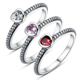 Authentic 100% 925 Sterling Silver Ring Love Heart Ring Original Wedding Jewelry