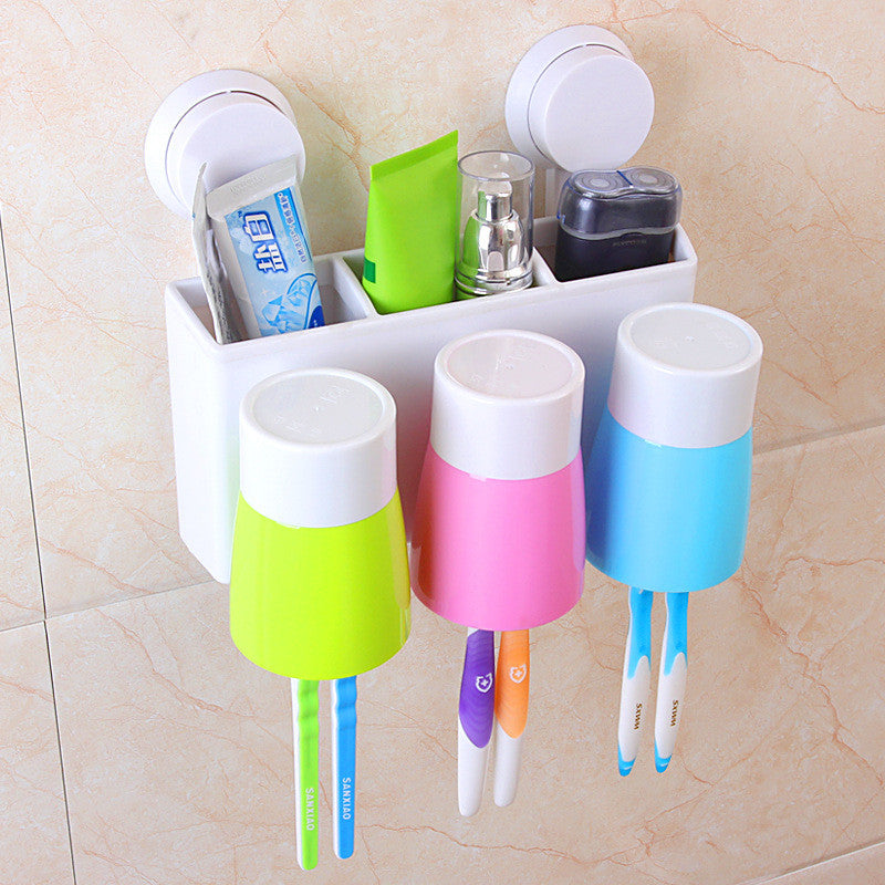 Automatic Toothpaste Dispenser Squeezer 6 Toothbrush Holder with 3 Cups Storage Organizer Wall-mounted Stand Family Bathroom Set