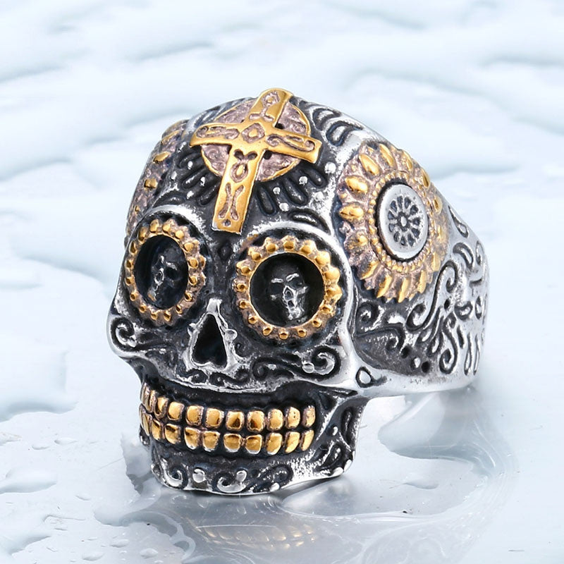 Cool Men's Gothic Carving Skull Ring For Man Stainless Steel High Quality Detail Biker Skull Jewelry For Boy