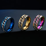 New Plated Gold/Black Man's Cool Spin Chain Ring For Man Stainless Steel Cool Man Woman Fashion Jewelry