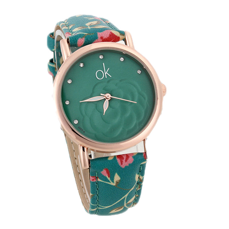 New Fashion Multicolor flower leather Band Quartz wristwatch Women Dress Watch Ladies Rhinestone watch Luminous hands