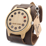 New Design 12 Wholes Leather Band Casual Unique Wooden Quartz Watch