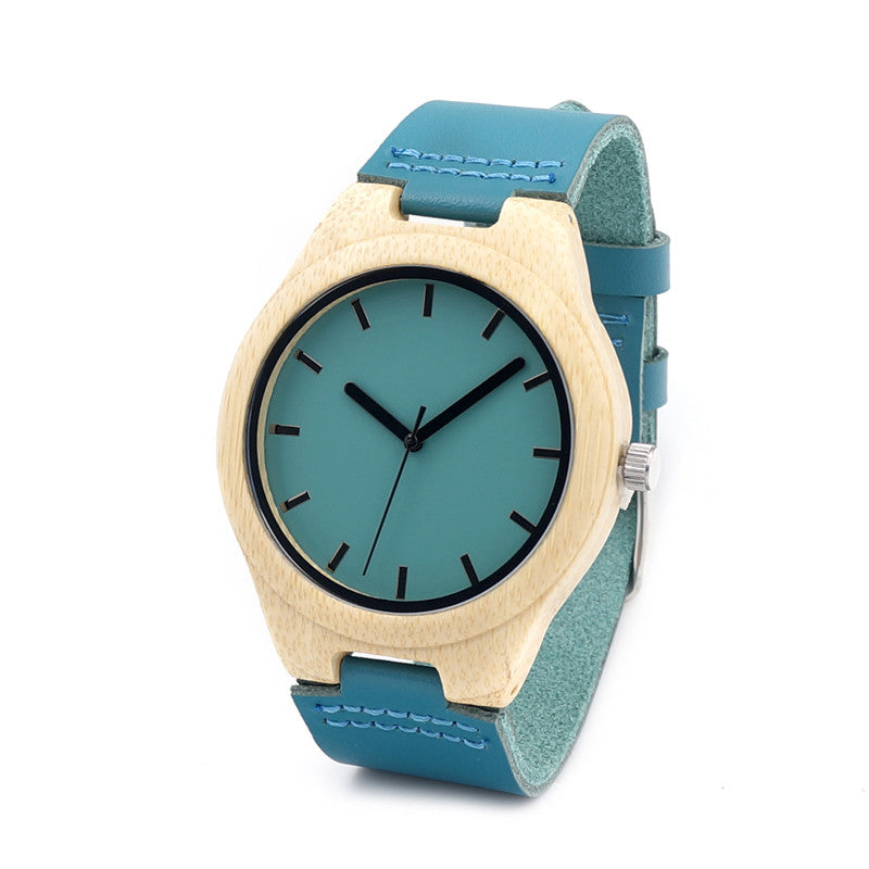 Bamboo Watch F20 Blue Causal Watch Soft Leather Bamboo Wooden Quartz Watches For Men Women Best Gifts With Gift Box