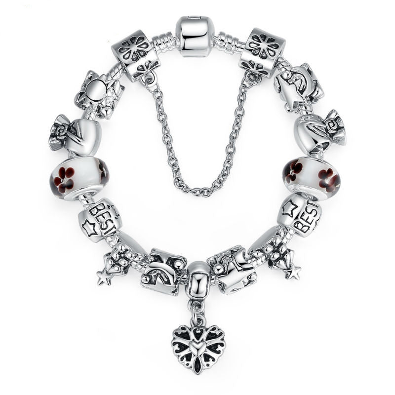 Luxury Silver Charm Bracelet for Women With High Quality Murano Glass Beads DIY Christmas Gift