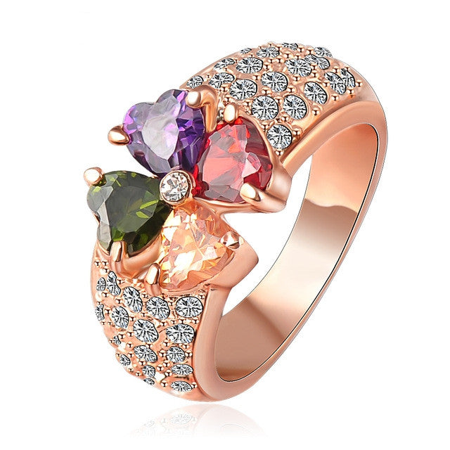 Brand Magic Heart Clover Zircon Ring Real Rose Gold Plated Genuine SWA Element Flower Crystal Ring