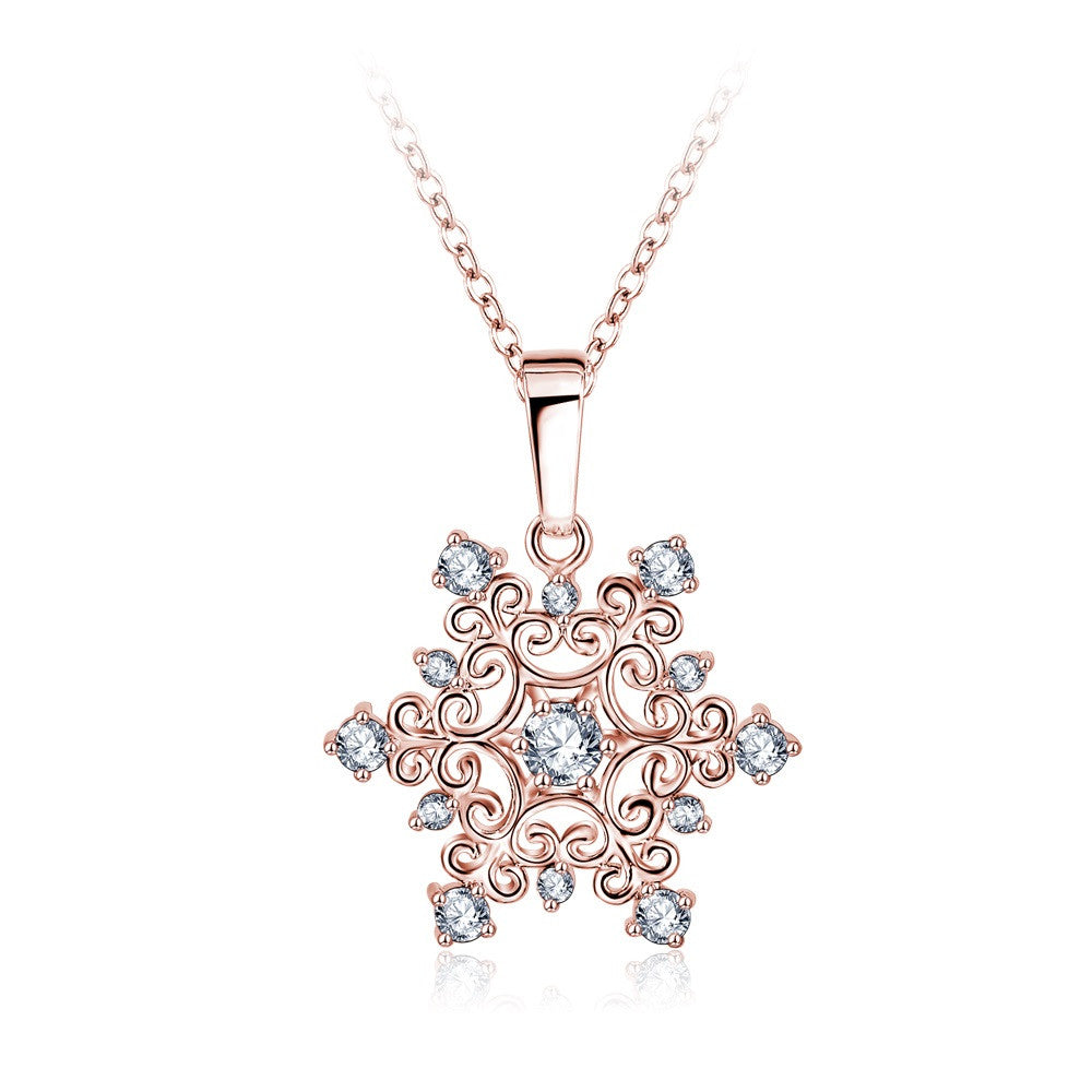 Exquisite Snowflake Pendant Platinum Plated with Zirconia Jewellery Valentine's Day Gift