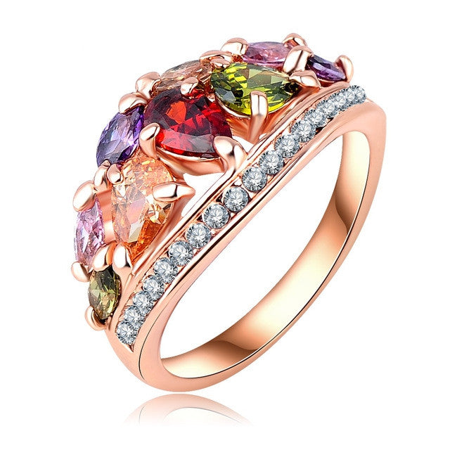 Fashionable Multi Color Finger Rings Austrian Crystal Rose Gold Plated Rings for Women Party Jewelry