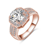 Trendy Ring Gold Square Shape AAA Cubic Zircon Brand Ring Fine Jewelry Women Rings