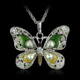 Beautiful Rhinestone Butterfly Long Necklaces Sweater Necklace Fashion Necklace For Women Necklace Pendants SilverJewelry Enamel