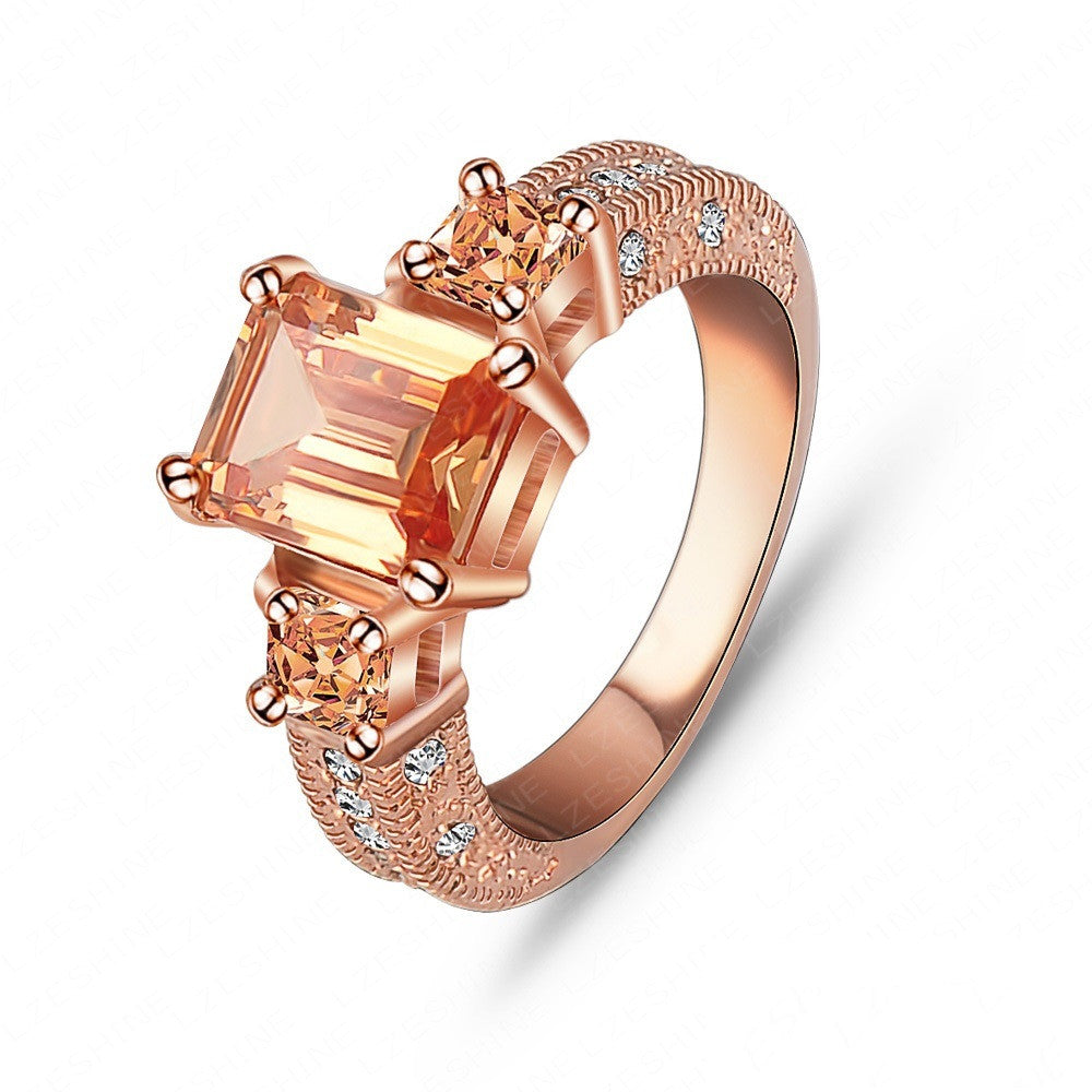Beautiful Ring Rectangle Zircon Cutting Ring 18K Rose Gold/Platinum Plated Women Rings Fashion Jewelry