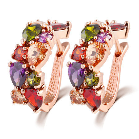 Beautiful Color Crystal Earring Gold Plated Alloy Jewelry Party Round Style Jewelery Earrings Set For Women