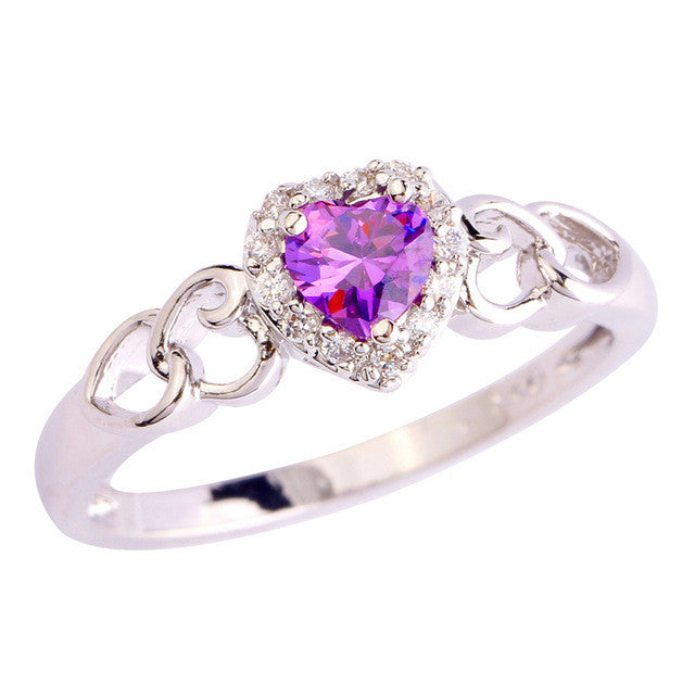 Beauty Women Purple Jewelry Rings Engagement Heart Cut Amethyst & White Sapphire Silver Ring