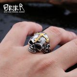 Beier new store 316L Stainless Steel ring top quality Hot sale men Punk Skull Ring Skeleton Style fashion jewelry