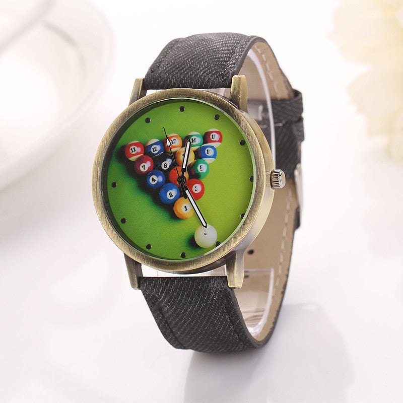 Billiards Cartoon Fashion Casual Women Girls Watches Vintage Wristwatches Canvas Fabric Strap Pattern Quartz Watch